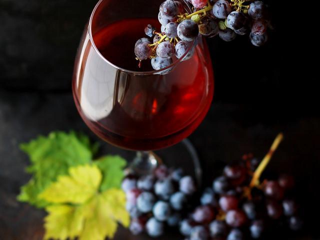 Grappe Raisin Verre Vin Rouge